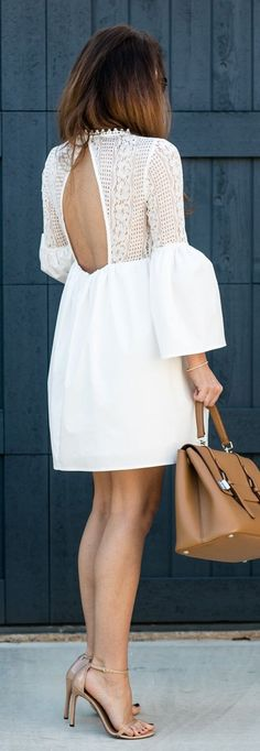 White Open Back Dress / Camel Leather Tote Bag / Nude Sandals
