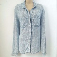 Cotton On Womens Large Button Up Shirt Top Shirt Blue Denim Look Striped Soft B1