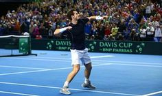 March 7 2016 - Andy Murray celebrates victory over Japan's Kei Nishikori to seal a 3-1 first-round Davis Cup win for Great Britain.