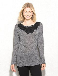 Floral Detail Marled Knit Top