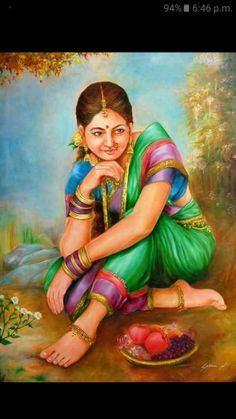 #india, #indianpainti Indian Women Painting, Indian Art Paintings, Indian Artist, Diwali Painting, India Painting, Woman Painting, Cool Art Drawings, Art Sketches, Pencil Drawings