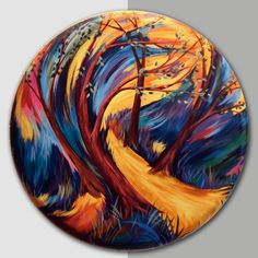 """Forest Summer"" Original Hand Painted Acrylic Painting on Canvas by Julie Borden - 23"" Round"