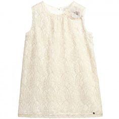 e79cd0810c0641 Gold Lace Dress with Brooch. Gouden Kante JurkenKanten BloemenmeisjesGouden  BloemenDesigner JurkenWitte Jurk