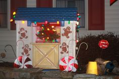 Holiday Decorating For The Little Tikes Playhouse Candy Land Christmas, Christmas Gingerbread House, Christmas Yard, Christmas Lights, Christmas Holidays, Christmas Crafts, Christmas Ideas, Gingerbread Houses, Christmas Games