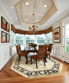 An unusually shaped dining room rug can add a unique twist on a classic style.