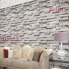 10M Roll White Grey Brick Stone Pattern Vinyl Wallpaper Roll Decoration Home New
