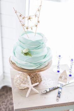 beautiful cake with starfish topper | Heidi Calma Photography: http://heidicalma.com