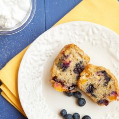 What could be better than warm Nectarine blueberry muffins on your table for breakfast! You'll love this easy to make recipe, change the fruit and change the muffin!
