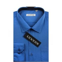 Verno Luxton Men's Classic Fashion Fit Dress Shirt, Size: L 16/32, Blue