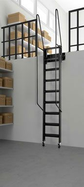 space saving mezzanine roll out stairs | via modularstairs.com