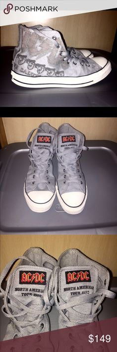 ddf76fae0e79 AC DC 1982 Tour Soft Gray Flannel Converse Hi-Tops These are in primo