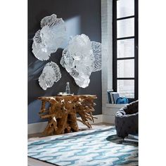 Instantly beautify your home with this gorgeous piece of floral wall art. Ideal for those who love flower wall art that leaves a lasting impression among family and friends.Dimension: 48'' H x63'' W Weight: 20lbs Easy to hang and clean Room Wall Decor, Diy Wall Decor, Blue Wall Decor, Bedroom Wall, Metal Walls, Metal Wall Art, Silver Wall Art, Wall Decor Online, Flower Wall Decor