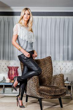 Lala Rudge - leather pants, lace blouse