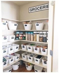 KonMari Kitchens to Drool Over Marie Kondo, bestselling author of The Life-Changing Magic of Tidying Up and Spark Joy, has developed a foolproof organization technique called the KonMari - Pantry With One Redo Small Pantry Organization, Organization Hacks, Organized Pantry, Organizing Ideas, Dollar Tree Organization, Bedroom Organization, Basket Organization, Pantry Ideas, Pantry Shelving