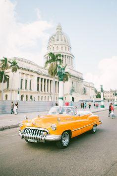 Orange beauty // El Capitolio, Havana, Cuba #car #vintagecar