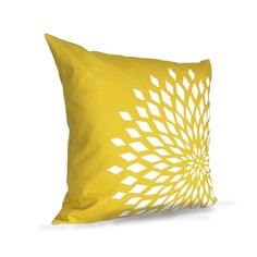 Graphic Zinnia Pillow Cover  Yellow / White by celineandkate, $35.00