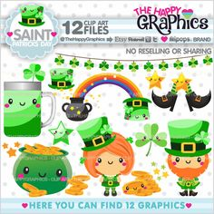80%OFF - St. Patricks Day Clipart, Saint Patricks Day Clipart, COMMERCIAL USE, St. Patricks Day Graphics, Planner Accessories, Party