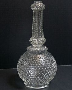 VINTAGE HOBNAIL GLOBE LAMP BASE & STEM CLEAR GLASS ROUND BUMP REPLACEMENT PARTS