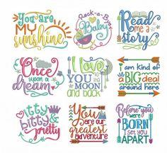 Baby Word Art Set Designs By JuJu Machine Embroidery Store View Embroidery Store, Machine Embroidery Thread, Border Embroidery, Baby Embroidery, Embroidery Works, Embroidery Software, Embroidery Files, Machine Embroidery Designs, Embroidery Patterns