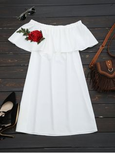Floral Patched Flounce Shift Dress - WHITE ONE SIZE