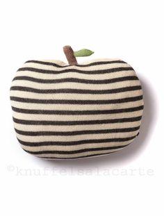 OeufNYC striped apple pillow  http://www.knuffelsalacarte.nl/appelkussen-antraciet-wit-gestreept--p-16808.html