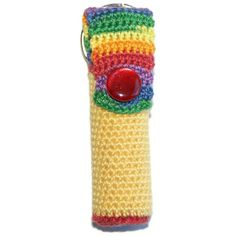 Lip Balm Holder Crocheted Rainbow and Yellow by pigswife on Etsy, $7.00