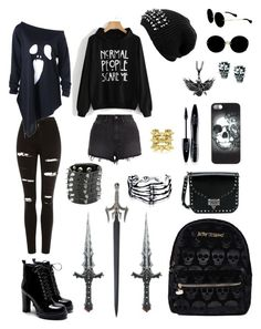 Daughter of Hades by s0phier0bins0n on Polyvore featuring polyvore, moda, style, Topshop, Ksubi, California Costumes, Betsey Johnson, Valentino, Hot Topic, Bling Jewelry, Bernard Delettrez, Prophecy, Miu Miu, Metal Mulisha, Lancôme, fashion and clothing