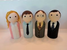 Pam, Jim, Dwight, and Michael from The Office, for sale at etsy.com/shop/maddasahatterr
