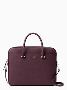 Kate Spade Saffiano Laptop Bag in deep plum leather Kate Spade Laptop Bag, Kate Spade Bag, Kate Spade Briefcase, Leather Briefcase, Laptop Bag For Women, Backpack For Teens, Backpack Purse, Purse Wallet, Macbook Accessories