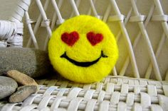 Smiley Face in Love Felted Soap by DancinSheep on Etsy, $10.00