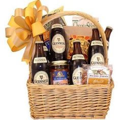 An Irish favorite this Guinness beer gift basket features six brews and fun pub style snacks, roasted nuts, gourmet snack mix, tasty chips and spicy salsa. Beer Basket, Birthday Gift Baskets, Roasted Nuts, Beer Tasting, Beer Gifts, Wine And Beer, Guinness, Party Gifts, Brewery