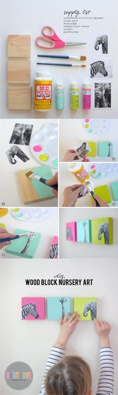 DIY Painted Wood Block Nursery Art | http://diyfunidea.com (Kids Wood Crafts Photo Transfer)