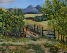 Original landscape oil painting fine art landscape paintings original art Colorado mountains hill trees fence framed painting rural landscape  Yellow Jacket Pass Oil on board 24 x 20 2016  This listing is for the original oil painting, Yellow Jacket Pass. This fine art landscape painting is of the scenic mountains and hills in Northwestern Colorado. It features a typical bright blue Colorado sky, that contrasts nicely with the beautiful late summer grasses. Yellow Jacket Pass, is a summer…