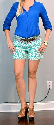 Outfit Posts: outfit post: tribal teal shorts, cobalt blue top, patterned belt