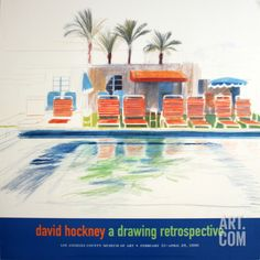 Eight Sunchairs by a Pool Collectable Print by David Hockney at Art.com