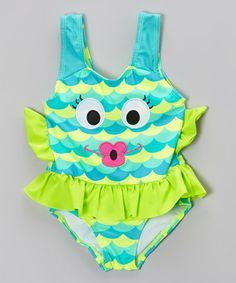 Take a look at this Blue Fishalicious Skirted One-Piece - Infant, Toddler & Girls on zulily today!