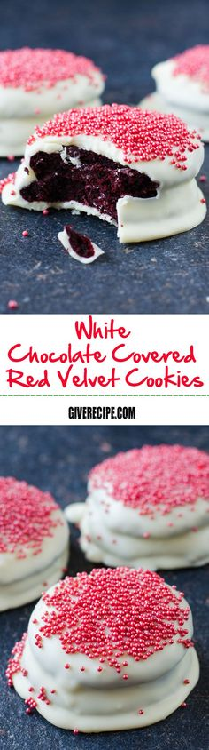 White Chocolate Covered Red Velvet Cookies