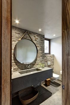 Natural stone wall in the bathroom - concrete washbasin- Natursteinwand im Badezimmer – konkretes Waschbecken Natural stone wall in the bathroom – concrete sink -… - Bad Inspiration, Bathroom Inspiration, Ideas Baños, Nail Ideas, Natural Stone Wall, West Home, Concrete Sink, Vintage Home Decor, Style Vintage