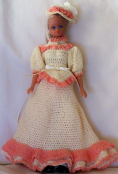 HAND CROCHETED DRESSER DOLL Like Barbie (Doll Included)