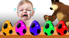 Bad Baby with tantrum Learn Colors Surprise Eggs Soccer Balls Johny John...
