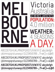 """""""Melbourne"""" font created by Marco Müller: A modern sans-serif font. Original typeface drafted 2008 during study-abroad in Australia. The idea was to create a clean and compact font that can be used in various ways."""