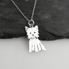 Sterling Silver Yorkshire Terrier Dog Pendant Necklace, 18', Yorkie -- Read more reviews of the product by visiting the link on the image. (This is an affiliate link) #WomensJewelry