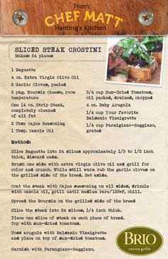 Chef Matt's Sliced Steak Crostini, BRIO Tuscan Grille, Murray, Utah.