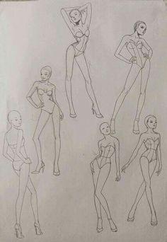 Fashion Drawing Tutorial, Fashion Figure Drawing, Fashion Model Drawing, Fashion Illustration Poses, Fashion Illustration Template, Illustration Mode, Design Illustrations, Fashion Design Sketchbook, Fashion Design Portfolio