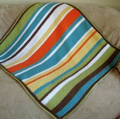 Crochet blanket #pattern - dig the color scheme. modern, beachy... I like it.