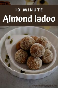 Almond Ladoo made in less than 10 minutes with the store bought almond flour. These badam ladoo are refined sugar free and delcious sweet almond balls which can be enjoyed as snack or post work out. A great after school snack for kids too. #almondladoo #almondflourladoo #badamladoo #badamladdu #indiansweets #jaggery Indian Dessert Recipes, Indian Sweets, Indian Food Recipes, Easy Recipes, Snack Recipes, Cooking Recipes, Diwali Recipes, Diwali Snacks, Diwali Food