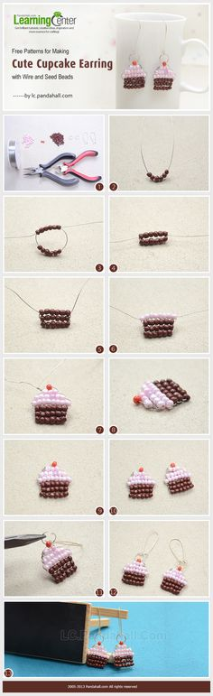 Free Patterns for Making Cute Cupcake Earring with copper Wire and Seed Beads. (Use wire, don't need a beading needle.) this is obviously not South African, just looking at techniques for SWAPS. Jewelry Clasps, Seed Bead Jewelry, Seed Bead Earrings, Diy Earrings, Beaded Jewelry, Handmade Jewelry, Seed Beads, Jewellery, Jewelry Box