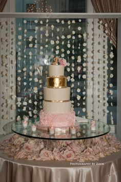 Cake table flowers ruffle gold tier backdrop rosettes