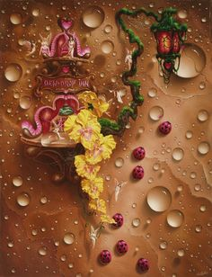 Dewdrop Inn Oil on Canvas 29 x 38 inches artist, Christopher Pollari Dewdrop Inn Fantasy Paintings, Fantasy Art, Fairytale Art, Traditional Paintings, Pop Surrealism, Surreal Art, Oil On Canvas, Fairy Tales, Whimsical