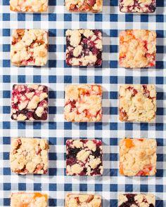 Berry Bourbon Vanilla, Rhubarb Lime, and Strawberry Apricot Pie Bars / WIt & Vinegar